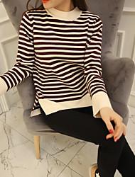 Damen Standard Pullover-Lässig/Alltäglich Niedlich Gestreift Mehrfarbig Rundhalsausschnitt Langarm Acryl Herbst Mittel Mikro-elastisch