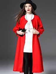 WEIWEIMEI  Women's Casual/Daily Simple CoatSolid Round Neck Long Sleeve Fall / Winter Red Rabbit Fur / Polyester
