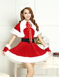 Costumes de Cosplay Costumes de père noël Fête / Célébration Déguisement Halloween Rouge / Blanc Mosaïque Robe / Plus d'accessoires Noël