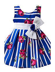 Girl's Going out Casual/Daily Party/Cocktail Striped Floral Color Block Dress,Cotton Polyester Satin Blended Cotton All Seasons Sleeveless