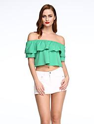 Damen Solide Sexy Lässig/Alltäglich T-shirt,Bateau Sommer Kurzarm Blau / Rosa / Rot / Grün / Gelb Polyester Mittel