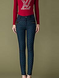 Damen Übergrössen Skinny Chinos Hose-Lässig/Alltäglich Einfach Punkte Hohe Hüfthöhe Reisverschluss / Knopf Baumwolle Micro-elastisch