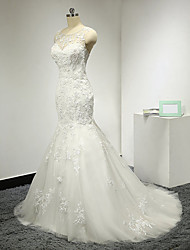 Mermaid / Trumpet Scoop Sweep / Brush Train Tulle Wedding Dress with Appliques
