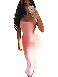 Women's Pink Halter Mermaid Midi Bodycon Bandage Dress with Flare