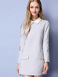 Women's Casual/Daily Chinoiserie A Line Dress,Embroidered Shirt Collar Above Knee Long Sleeve Polyester Fall Mid Rise Inelastic Medium