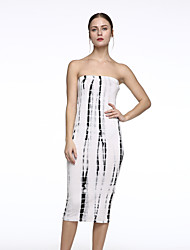 Women's Ivory Black Tie Dye Tube Midi Dress
