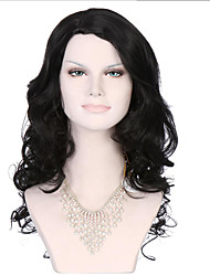 6A Synthetic Cosplay Wigs Women's Long Body Water Wave Black Wig Heat Resistant Fiber Wig