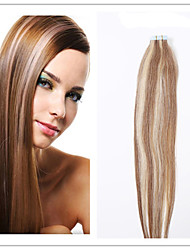 #4/27 Double Drawn Tape In Hair Extensions 100% Indian Human Hair Black Brown Blonde Pu Skin Weft 20pcs promotion