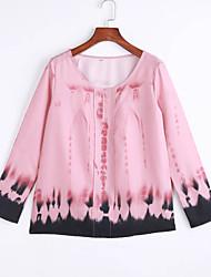 Damen Druck Einfach / Street Schick Lässig/Alltäglich T-shirt,V-Ausschnitt Frühling / Herbst Langarm Rosa Polyester Mittel