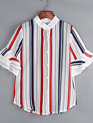Women's Casual/Daily Simple Summer Blouse,Striped Stand ½ Length Sleeve Red Polyester Medium