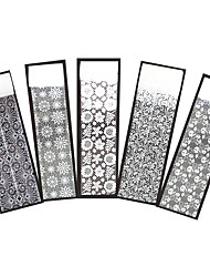 5pcs Wedding Nail Art Transfer Sticker White Flower Lace Design Lady Manicure Sticker Holographic