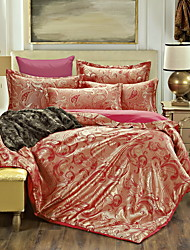 Bedtoppings 4pcs Set Queen 1 Comforter Duvet Quilt Cover/1 Flat Sheet/2 Pillowcase Jacquard Pattern Cotton Rich Blend Poly