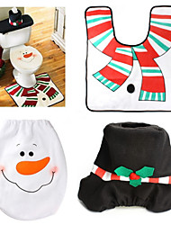 Christmas Snowman Toilet Sets  Mat  Water Tank Cover  Tissue Sets Christmas Supplies
