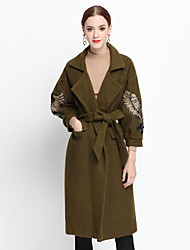 YZXH Women's Casual/Daily Simple CoatJacquard Notch Lapel Long Sleeve Fall / Winter Green Others