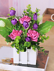 Table Decoration Decorative Floral Polyester Roses Artificial Flowers