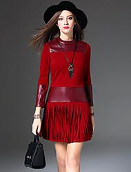 Feminino Bainha Vestido, Casual Simples Sólido Colarinho Chinês Acima do Joelho Manga ¾ Vermelho / Preto Poliuretano / AlgodãoOutono /