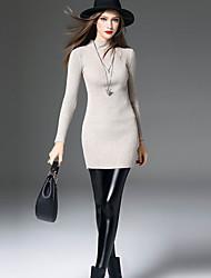 Feminino Skinny Chinos Calças-Cor Única Casual Simples Cintura Média Elasticidade PU Inelástico Outono