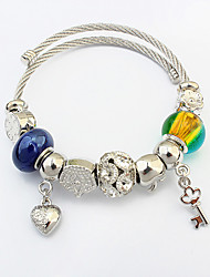 Women Fashion Beaded Key Heart Charm Bracelet Daily Jewelry Gift Silver