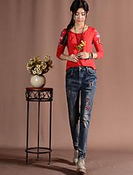 2016 outono nova fêmea harem pants furo de jeans calças largas calças bf vento pés grandes estaleiros