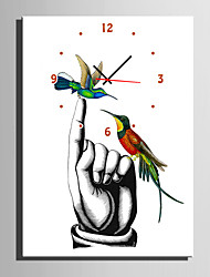 E-HOME® Bird on The Finger Clock in Canvas 1pcs