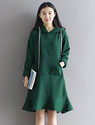 Women's Casual/Daily Simple A Line Dress,Solid Hooded Above Knee Long Sleeve Black / Green Others Fall / Winter Mid Rise Inelastic Medium