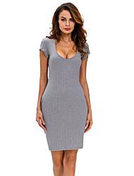 Women's Plunge V Neck Ribbed Bodycon Dress