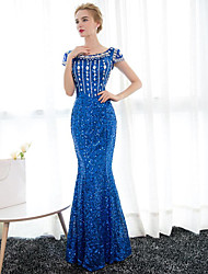 Mermaid / Trumpet Scoop Neck Floor Length Satin Sequined Formal Evening Dress with Crystal Detailing by JUEXIU Bridal