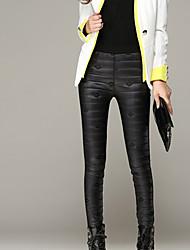 Feminino Tamanhos Grandes Skinny Chinos Calças-Cor Única Casual Simples Bordado Cintura Média Elasticidade Algodão / Elastano