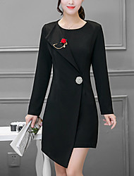 Women's Formal / Party/Cocktail Sophisticated Sheath Dress,Solid Round Neck Asymmetrical Long Sleeve Red / Black Cotton / NylonFall /