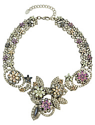 Fashion Colorful Rhinestone Flower Collar Necklace