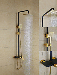 Art Deco/Retro Shower System Rain Shower with  Ceramic Valve Two Handles Three Holes for  Painting , Shower Faucet