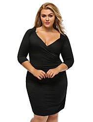Women's Half Sleeve Ruched Curvy Dress
