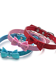 Cat / Dog Collar Adjustable/Retractable / Handmade / Sequins Solid / Rhinestone / Bowknot / Nature & Landscapes Red / Blue / PinkPU