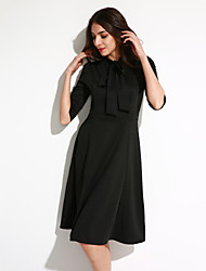 Women's Going out Street chic A Line Dress,Solid Crew Neck Midi ¾ Sleeve Blue / Black / Green Polyester Fall