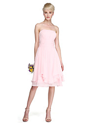 Lanting Bride® Knee-length Chiffon Bridesmaid Dress - A-line / Princess Strapless Plus Size / Petite with Draping / Ruching