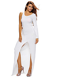Women's Single Long Sleeve Cutout Detail Jersey Maxi Dress