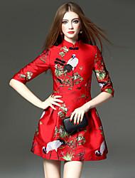 2016 nova primavera feminina jacquard pesado colar vestido de cintura fina tutu vestido balanço do guindaste