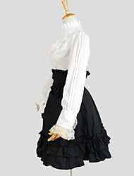 Outfits Classic/Traditional Lolita Elegant Cosplay Lolita Dress White / Black Solid Long Sleeve Knee-length Top / Skirt For Women Cotton