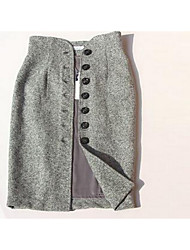 Women's Bodycon Solid Skirts,Casual/Daily High Rise Mini Button Polyester Micro-elastic Fall