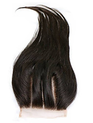 kinky straight Human Hair Closure Medium Brown gram Cap Size