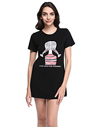 Women's Cartoon Print White / Black Slim Long Section T-shirt,Plus Size/Cute/Casual Short Sleeve Two Ways Wear Cotton