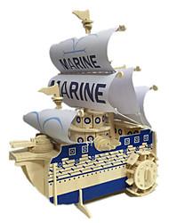 Quebra-cabeças Quebra-Cabeças 3D Blocos de construção DIY Brinquedos Barco de Guerra 1 Madeira Azul Marinho Modelo e Blocos de Construção