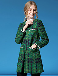Women's Going out / Casual/Daily / Holiday Simple / Street chic Jackets,Striped Standing Collar Long Sleeve Fall / Winter Green Polyester