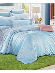 Floral Duvet Cover Sets 4 Piece Cotton Pattern Reactive Print Cotton Full 1pc Duvet Cover 2pcs Shams 1pc Flat Sheet