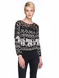 Damen Patchwork Übergröße / Street Schick Lässig/Alltäglich T-shirt,Rundhalsausschnitt Frühling Langarm Schwarz Baumwolle Undurchsichtig