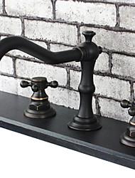 Tradicional Difundido Válvula Cerâmica Duas alças de três furos with Bronze Oleado Torneira pia do banheiro