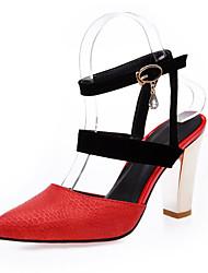 Damen-High Heels-Büro Kleid Lässig-Kunstleder-BlockabsatzSchwarz Rot Weiß Beige