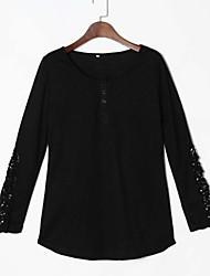 Damen Patchwork Einfach / Street Schick Lässig/Alltäglich T-shirt,Rundhalsausschnitt Frühling / Herbst Langarm Rot / Weiß / Schwarz