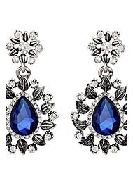 Brincos Compridos Safira Cristal Azul Escuro Jóias Para Casamento Festa Diário 1 par