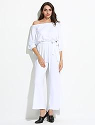 Femme Epaules Dénudées Combinaisons Aux s ½ Manches simple Polyester Moyen Micro-élastique